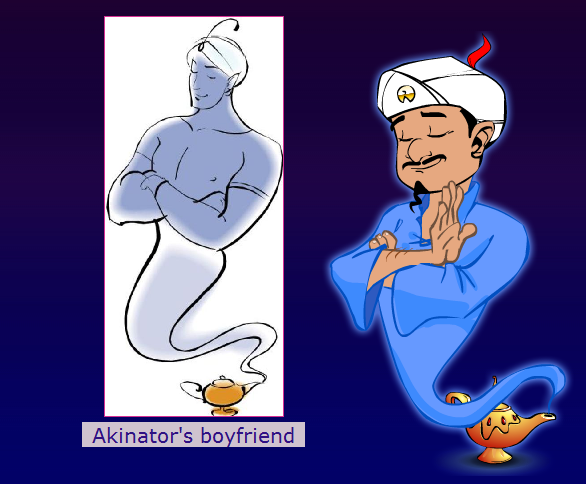 pinkprisoner:  megallica:  I was trying to make Akinator guess himself. After a few questions he asked if my character was a genie and I knew he was going to get it, so when he asked if my character was gay I just said yes. The he asked if my character was known for a specific sexual act and I said yes again. This is the answer I got.  look how proud he is of his sexy bf