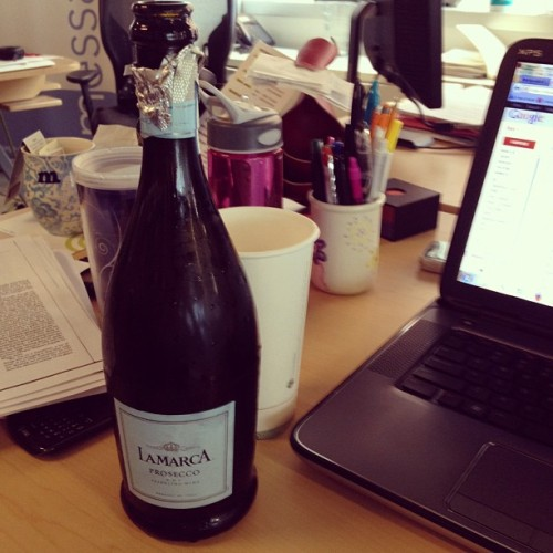 Popping bottles in celebration of healthcare. Normal Thursday at work. #woooo (Taken with Instagram)