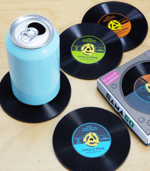 This set of mini-45 record coasters is pretty rockin'