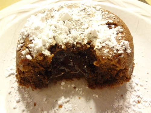 Mmmmmm. Molten Chocolate Lava cake.  Me and my sis made this delicious creation.  A moist chocolate cake with a hint of cinnamon, filled with an ooey gooey chocolate filling and topped with powdered sugar.  Did I mention it was also dairy free?  Ask me for the recipe, I'd love to share the chocolatey goodness with you. (Shhh it has a secret ingredient: red wine!)
