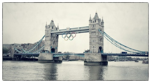 Olympic rings on Tower Bridge #London