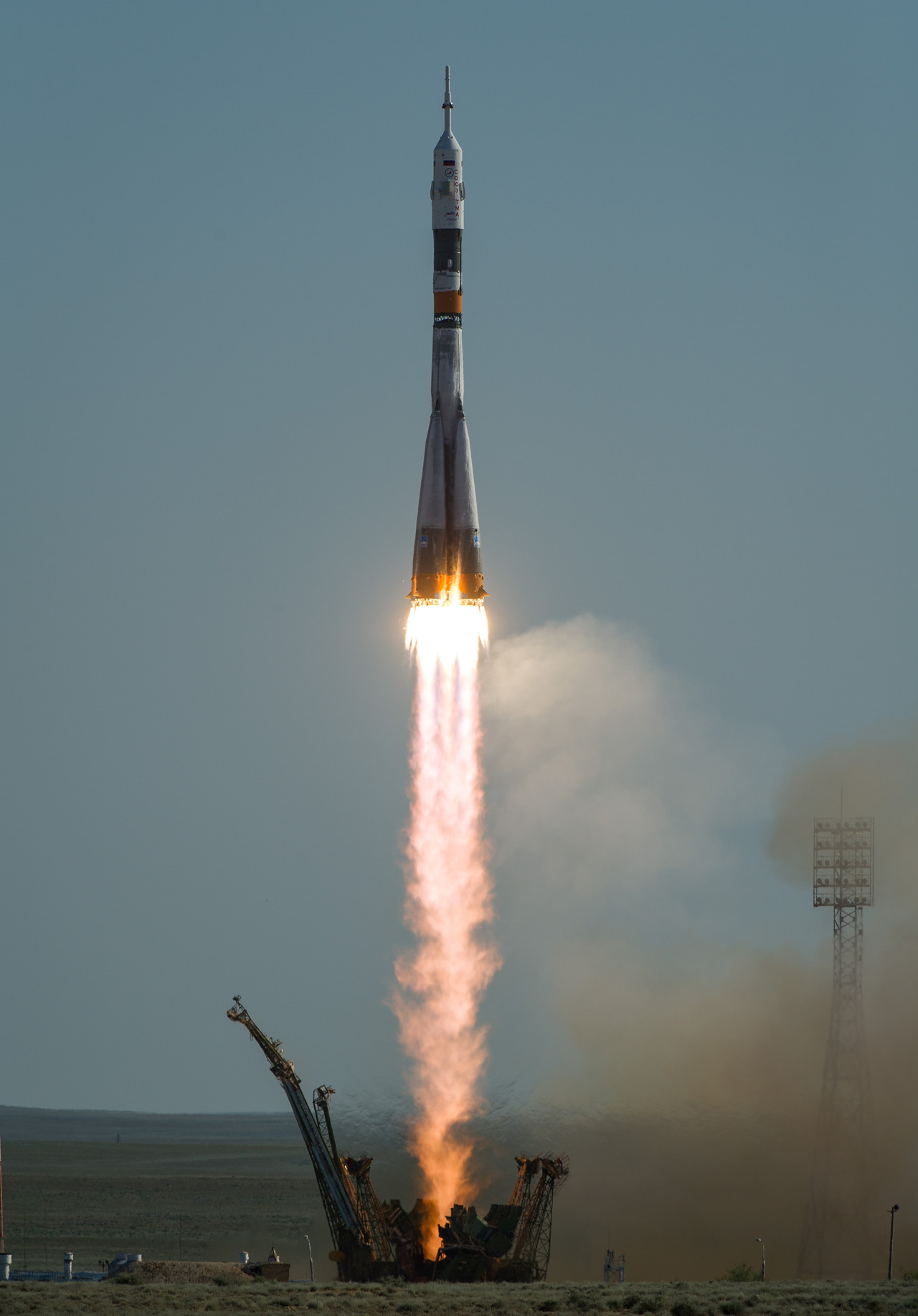The Soyuz TMA-04M rocket launches from the Baikonur Cosmodrome in Kazakhstan on May 15, 2012, carrying Expedition 31 Soyuz Commander Gennady Padalka, NASA Flight Engineer Joseph Acaba and Flight Engineer Sergei Revin to the International Space Station (ISS). Photo by Bill Ingalls.