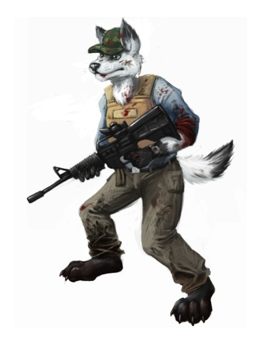 A Day Z/Zombie Apoc. ready wolf commission.  Gimp, 3 hrs