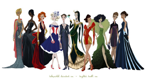 toughtink:  the full Avengers Gowns Collection! the full image is pretty large and can be used for a wallpaper. :D click through for the larger size.  Oh look, it's another Ringlinger being freaking amazing again.