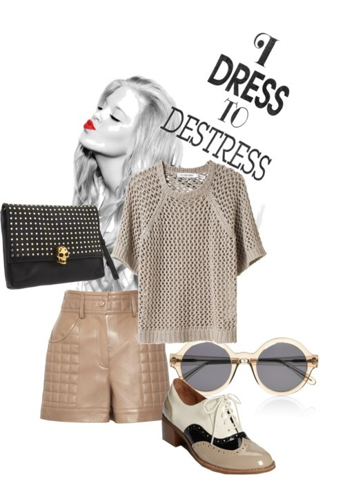 Dress to destress por julianajace usando oxford shoesEtoile Isabel Marant cotton sweater, $312Chloé high waisted shorts, £384Jeffrey Campbell oxford shoes, $120Alexander McQueen clutch handbag, $1,116Illesteva clear shades, £160Welikefashion.com Tee Destress, €40