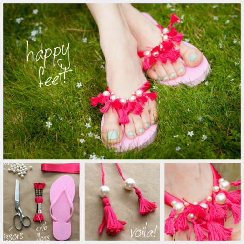 DIY Ribbon and Beaded Tassel Flip Flop Tutorial from Trinkets in Bloom here. Really easy using cheap embroidery thread. *See Trinkets in Bloom's other tutorial with flip flops embellished with ribbon and beads (my favorite) here.