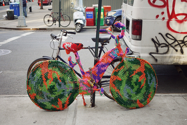 Knitted bike cover by chrisglass on Flickr.