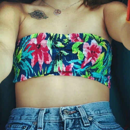 #me #highwaist #bandeau #summer  (Taken with Instagram)