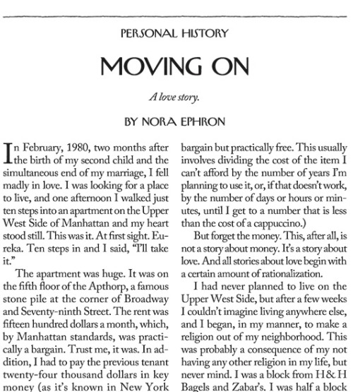 Nora Ephron talks apartment hunting