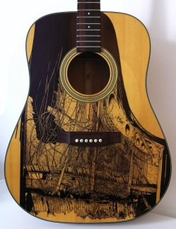 How cool are these ink drawings on guitars? No seriously, they're better than it sounds… Source: http://www.mymodernmet.com/profiles/blogs/patrick-fisher-illustrations-on-guitars