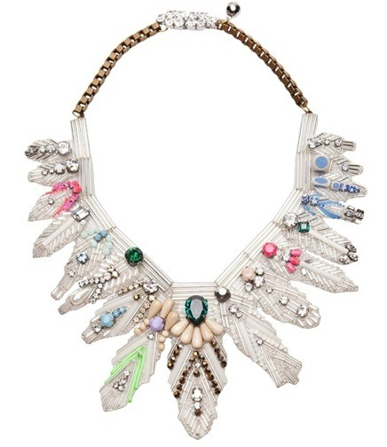 glamour:  Swarovski crystal, silver, and brass necklace by Shourouk.