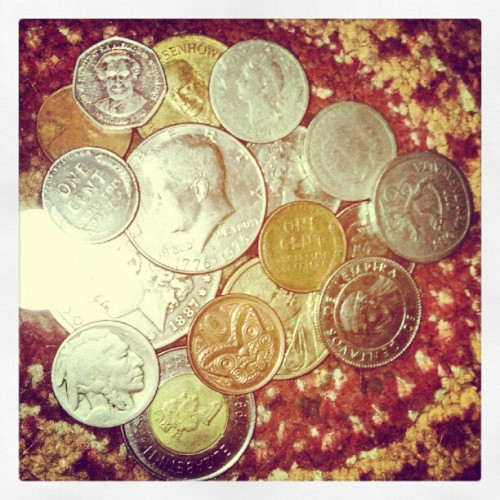 A chunk of my little #coins #collection some are #old, some are #new   :) (Taken with Instagram)