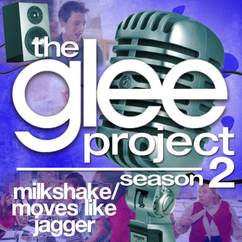 "A Glee Project album cover (with Season 3 microphone) for ""Milkshake/Moves Like Jagger"" by Kelis and Maroon 5 featuring Christina Aguilera, as sung by Charlie Lubeck and the cast of The Glee Project, from Episode 2x04 ""Sexuality"" in my Velvet Backdrop style."