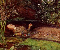 "Source: John Everett Millais""A willow grows aslant a brook."""