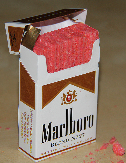 ORGANIC STRAWBERRY wafers in MARLBORO box (Competitively Scarce for Free Spirits Only), 2012 Sculpture •º• BUY IT ON ETSY NOW