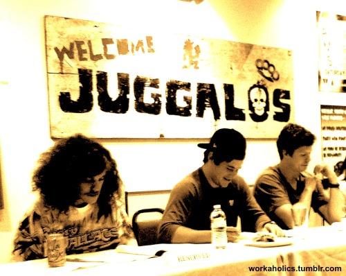 "workaholics:  Blake, Adam and Ders at the table read for ""The Meat Jerking Beef Boys"". Hear what they read as all new Workaholics premieres tonight at 10:30/9:30 CT."