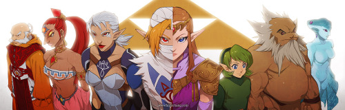 finnichang:  The Seven Sages — Legend of Zelda: Ocarina of Time Oh man I think this is good enough to print and call it done! My wrist hurts so bad ;A; Please fullview in order to see the full quality, since the composition is two posters joined together *__* The sages from OoT are so badass they really deserve to get some spotlight!!