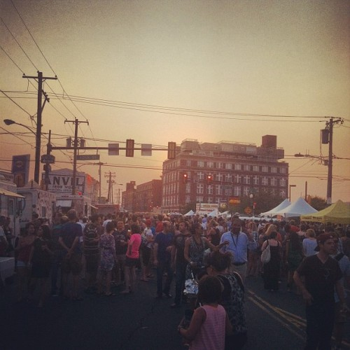 The crowd & sunset at #NightMkt (Taken with Instagram at Night Market Washington Avenue)