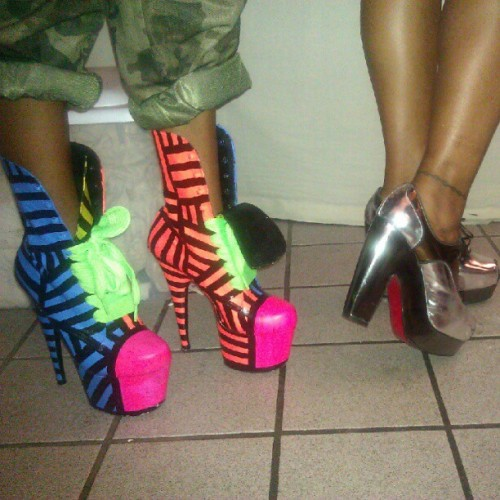 shavonnedeann:  Shoe game propa !! @thesepinklips @irobincredible #redbottoms #barbeeboots!! (Taken with Instagram)