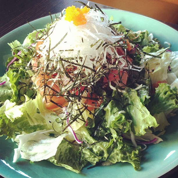 Sashimi salad! Omg so hungry!!! #eatclean  (Taken with Instagram)