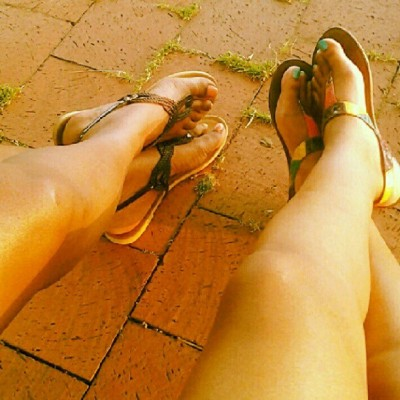 The bestie & I #Sunkissed #Legs #Sandals  (Taken with Instagram)