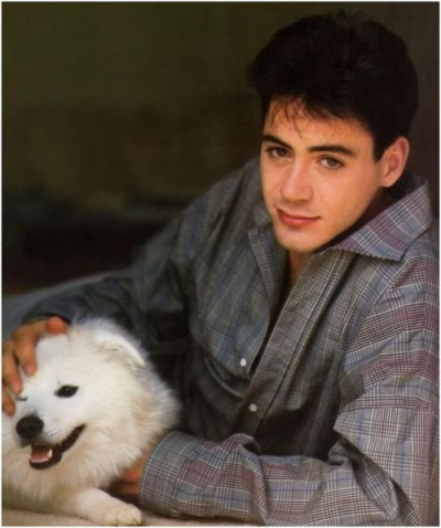 Robert Downey jr with an American Eskimo … Your argument is invalid