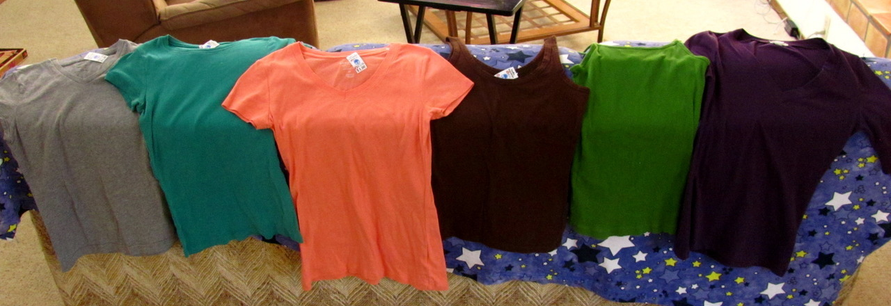 I have these 6 tops, which I bought at thrift stores for $1 each! I want to bleach 'em. Any idea for what I could bleach onto them? Patterns? Images?