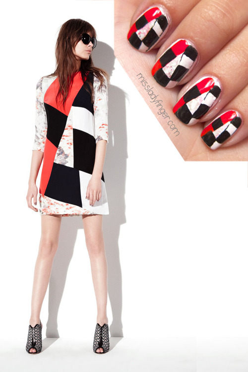 MANICURE MUSE: Prabal Gurung Resort '13 One might look at Prabal Gurung's Resort '13 collation and wonder how, aside from the eye-catching electric aqua and tomato red colors, it might translate into nail art. As one of my all-time favorite shows of the Resort season, I was determined to take on the challenge. Because the collection was inspired by Canadian sculptor Aaron Moran's wood-blocking sculptures, I could easily capture the iconic bold striking lines and sharp tailoring. This dress in particular sums up the youthful vibe of this bold collection with the mixing of graphic elements with a hint of floral. To emulate this look, I used Brilliant White by CND, Chiffon Chic and Onyx Rush by Maybelline's Color Show, Dove by Zoya, Too Too Hot by Essie, a paper plate and a paper towel. To get these ladyfingers: 1. Start with a full white nail 2. Drop a dollop of light pink polish onto your paper plate 3. Dab your paper towel in the polish and blot it to make sure you have just a subtle amount 4. Dab the polish lightly on your nail 5. Repeat steps 3/4 using light gray polish 6. Once dry, paint a red line along the left side of your nail 7. Paint a white line along the right side 8. Using a nail art pen as a guide, draw lines indicating the inside boxes for your black 9. Use a nail art brush to fill in the black boxes 10. Top it off with top coat (Photo: Fashionologie.com)