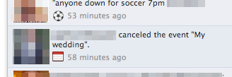 That awkward moment when a wedding is cancelled on Facebook.