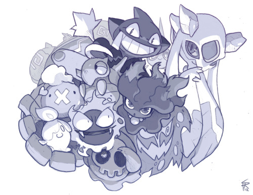 Day 18 sketch! Dedicated to my favorite Pokemon typing, Ghost! ;] Yes, YES, I'm sorry, more Pokemon art! Can't help it!