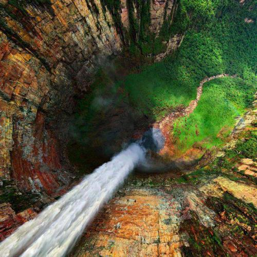 thedesireforknowledge:  carpe-diem801:  Dragon Falls, Venezuela. It is locally known as Churun Meru and this is an incredible natural formation.  Squirrel suit jump location? I so want to do it.