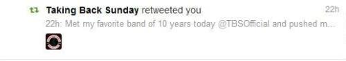 My favorite band of 10 years retweeted me.