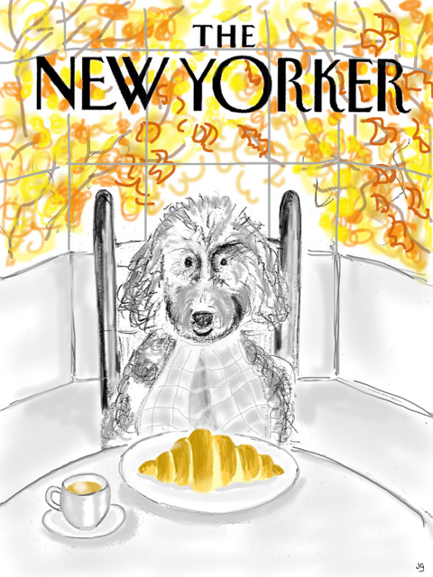 Food: Runner-up #2 By Jo Goren Cute dogs are what most readers would want us to run on every single New Yorker cover. Every once in a while, we do let one in. A big part of your relationship with your pet is that you feed them - and it's difficult to know if they love you or your ability to use a can opener. The monochromatic palette makes for a nicely focused image.