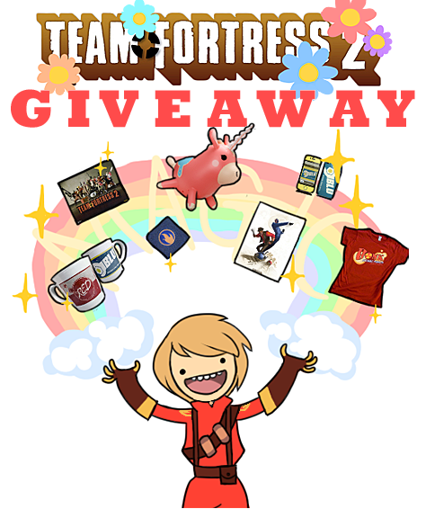 mercerism:  TEAM FORTRESS 2 GIVEAWAY! yo, tumblr. do you believe in magic? of course you do. tf2 makes you feel happy like an old-time movie. that's why I've decided to do this ridiculously big giveaway in celebration of meet the pyro! what is the prize, you ask, as you lean over your keyboard? why, tf2 merchandise from the valve store. how much merch? $30 worth. whoa. try not to fall out of your chair. if you want to win some real life tf2 loot (that you pick yourself—what a concept),  just do the following: like this post once. reblog it no more than once a day. i'll know if you cheat! do not feel compelled to follow me. that's unnecessary. I mean, if you like Valve stuff and pokemon and homestuck and zombies then sure, but otherwise, it won't get you any closer to getting your hands on beautiful TF2 goodness. and let me reiterate, you pick what those 30 bucks are spent on yourself. the worlds your oyster. as long as its an oyster filled with rugged mercenaries.  and that's it! this giveaway ends on Friday, July 13th, 8PM EST.
