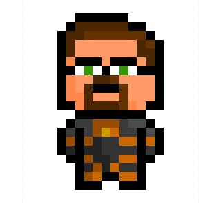 "Gordon Freeman V3, everyone's favourite crowbar-wielding scientist from the ""Half-Life"" series, shrunk down to an updated 12 x 20 pixel resolution.  Also available as an Art Print, Iphone Case and even a T-Shirt at my Society6 store Here."