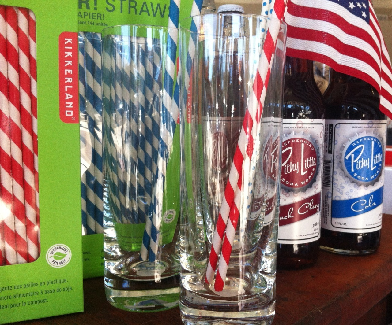 {Classic Americana} Old Fashioned All American Sodas, Paper Straws & Cocktail Glasses  Pictured: Pithy Little Soda Works Old Fashioned Cola & Black Cherry Sodas, Kikkerland Paper Straws, Stozle Collins Glasses