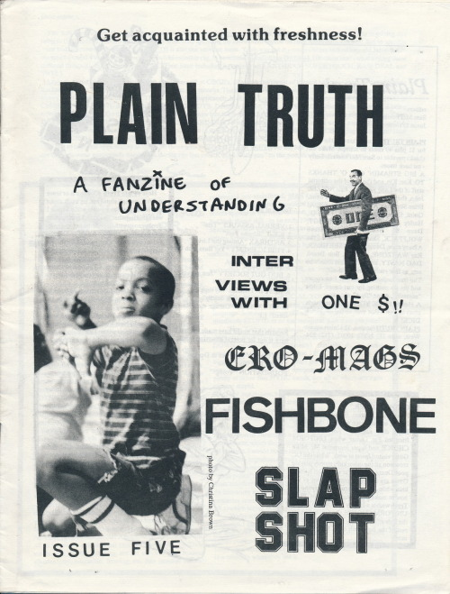 Plain Truth #5. Edited by Sam McPheeters and Jason O'Toole, New York City, NY. 1988. More cover scans from my collection of 'zines from the 1980s and 90s here.