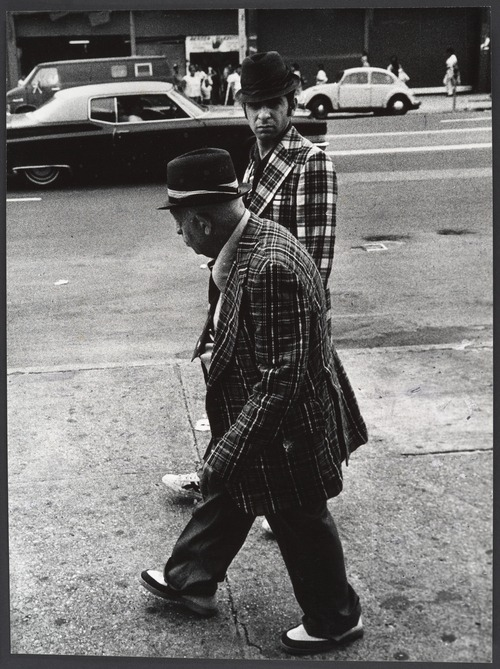 dianalily:  Leon Levinstein: Street Scene: Two Men Wearing Hats and Plaid Jackets, New York City, 1970s.