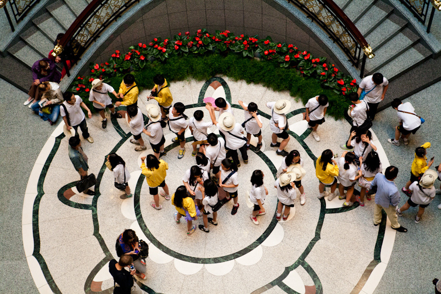 a group of young Korean students gather in the center of the first floor of the Shanghai Museum.  05/24/2012. For more photos check out my flickr.