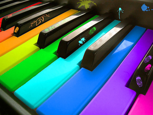 This piano is nearly rainbow gay. Nearly.