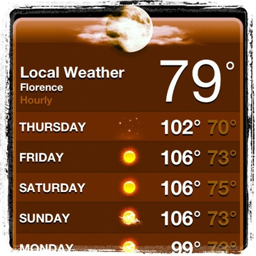 Wow will be 106' Friday, Sat, Sun in Florence, AL #shoals #hot #heat (Taken with Instagram)