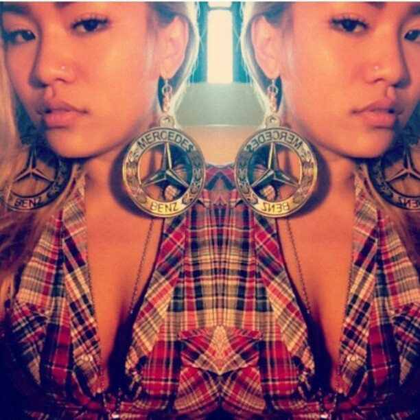Mercedes Benz earrings #melodyehsani #jewelry #earrings pic jacked from @kimberlyvanilla #TeamME (Taken with Instagram)