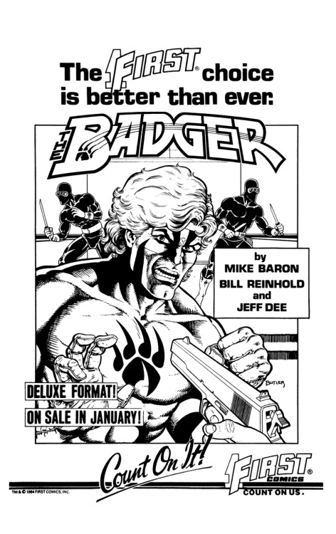 Promotional ad for Badger by Mike Baron, Bill Reinhold, and Jeff Dee, 1984.