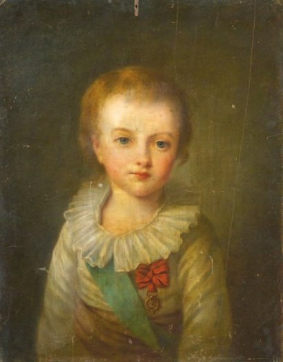 A portrait of Louis-Joseph, eldest son of Louis XVI and Marie Antoinette, from the school of Elisabeth Vigee-Lebrun. 18th century.