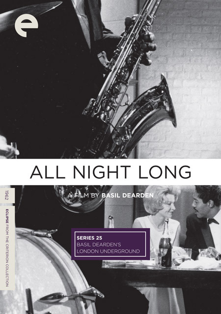 "All Night Long (dir. Basil Dearden, 1962) ""Othello is translated to the world of sixties London jazz clubs in Basil Dearden's smoky and sensational All Night Long. Over the course of one eventful evening, the anniversary celebration of the musical and romantic partners Aurelius Rex (Paul Harris) and Delia Lane (Marti Stevens), a jealous, ambitious drummer, Johnny Cousin (Patrick McGoohan), attempts to tear the interracial couple apart. This daring psychodrama also features on-screen appearances by jazz legends Charles Mingus, Dave Brubeck, Tubby Hayes, and Johnny Dankworth."""