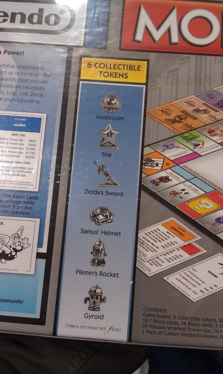 iron-alloy-man:  Zelda's sword? This is the official Monopoly for Nintendo, and the fuck it up…  Also…Pikmin don't ride in the rocket, that's what the Onions are for. That is Olimar's rocket. (At least not until Pikmin 2 when the Whites and Purples stay in your ship, but that's besides the point.)