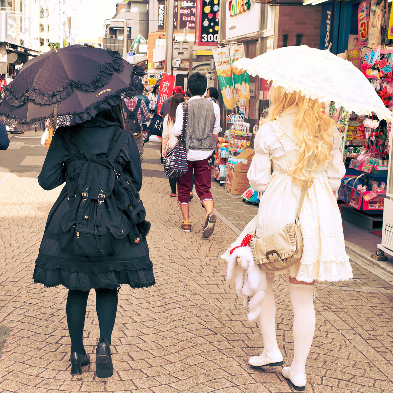 Lolitas walking down Takeshita Dori in Harajuku.