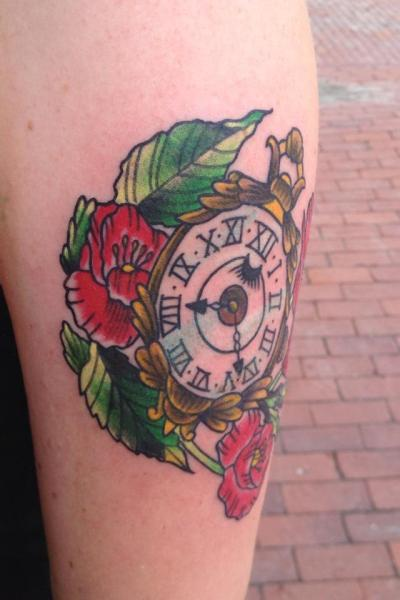 Pocketwatch & Poppies by Michael Rourke at Squid and Whale Tattoo in Portland, Maine. this is my 3rd tattoo, and the beginning of a sleeve on my left arm. 8:22 represents August 22nd (2010) — the day i sobered up.