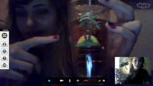 yo-adrianne:  drunk skype drinking out of the same tervis tumbler  twins. this is my best friend and random shit like this just occurs.