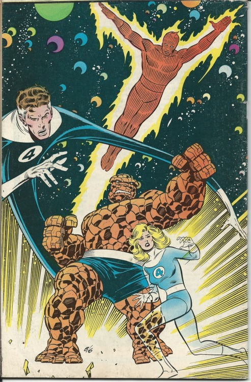 evenvatoscry:  Back cover of the Fantastic Four 1986 25th anniversary comic